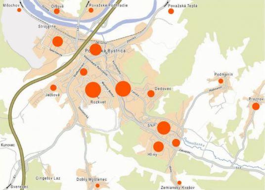 Bydlisko respondentov. Plocha kruhu je úmerná počtu respondentov z mestskej časti.