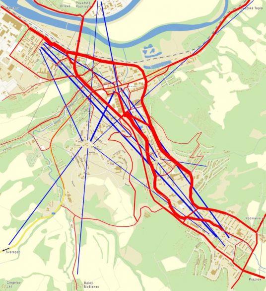 """""""Kadiaľ najčastejšie jazdíte?"""". Červenou farbou sú vyznačené trasy, ktoré respondenti uviedli, modrou len prepojenie odkiaľ-kam, tam kde presná trasa nebola opísaná. Hrúbka čiary zodpovedá počtu cyklistov."""