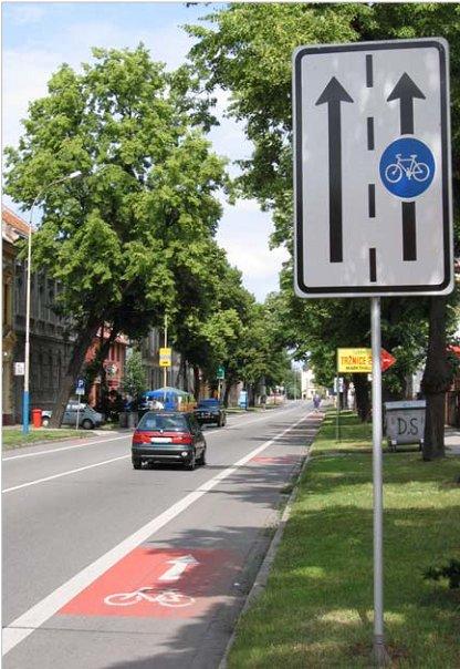 Vyhradený jazdný pruh pre cyklistov, Břeclav