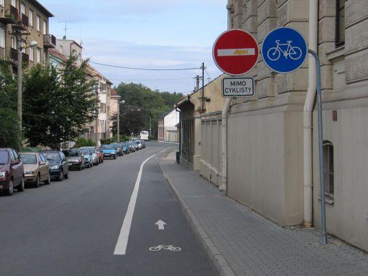 Jednosmerka otvorená pre cyklistov, Vyškov